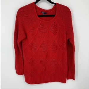 AEO M red argyle knit sweater
